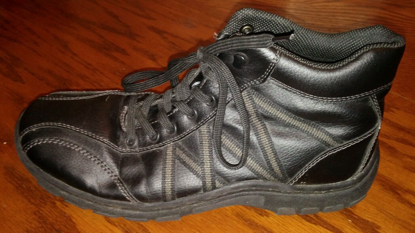 Woodstone be Prepared mens black leather shoes boots size EU 42 US 8