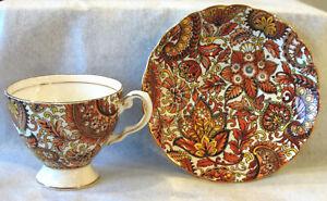 Royal-Tuscan-English-Bone-China-Cup-and-Saucer-034-Brown-Paisley-034-Pattern