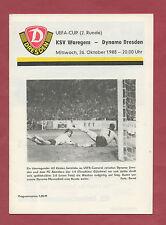 Orig.PRG    UEFA Cup 88/89    DYNAMO DRESDEN - KSV WAREGEM  !!  RARE
