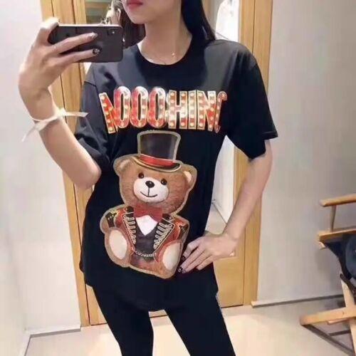 MOSCHINO Teddy Bear Rainbow Horse Women/'s 100/% Cotton Short Sleeve T-Shirt
