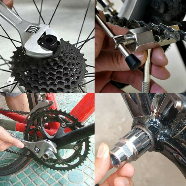 Bicycle Crank Chain Axis Extractor Removal Repair Tool Kit Mountain Bike MTB Set
