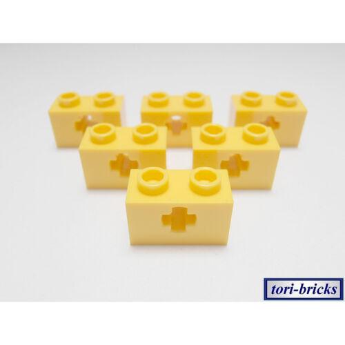 Lochstein 1x2 gelb Kreuzloch 6 Stück »NEU« # 32064 Lego Technik Lochbalken