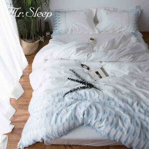 Image Is Loading Peacock Embroidery White Silk Feel Bedding Set Bed