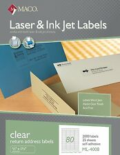 maco laser ink jet matte clear return address labels 1 2 x 1 3 4