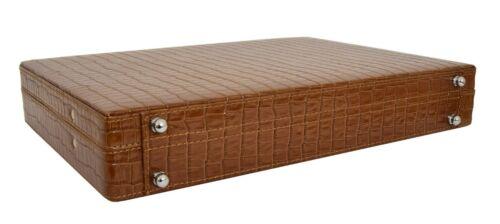 Brown Leather Croc Print Classic Attache Briefcase Slim Line Bag Dual Lock NEW