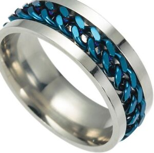 SIZE-12-BLUE-CHAIN-SPINNER-S-STEEL-RING-GREAT-CHRISTMAS-GIFT