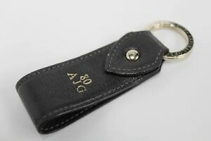ASPINAL-OF-LONDON-Leather-Saffiano-Pattern-Brown-Personalised-Fob-Keyring-NEW