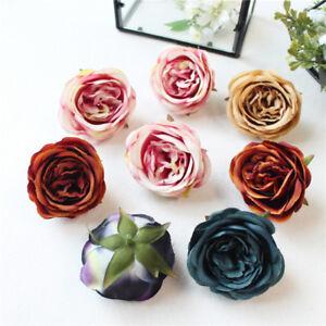 50PCS-Falsa-Seda-Cabezas-de-Flores-Rose-Artificial-Peonia-Azul-Flores-de-boda-Hagalo-usted-mismo