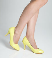 Ladies Womens Mid Heel Court Shoe / Office / Formal Shoes - Yellow - Size UK 6