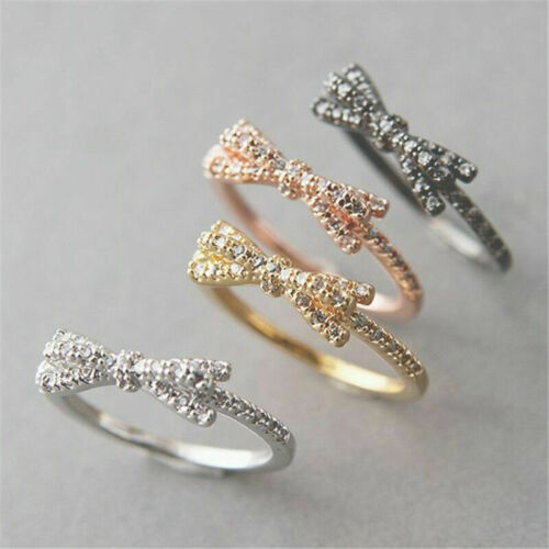 Engagement Bow-knot Newly 925 Silver Women Wedding Ring Party Gift Size 6-10