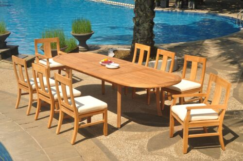 "9pc Grade-A Teak Dining Set 118"" Oval Table 8 Osborne Chair Outdoor Patio 9788420482248"