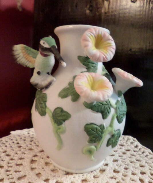 "Porcelain Bisque Hummingbird Applied Flowers Novelty Flower Bud Vase 5"" tall"
