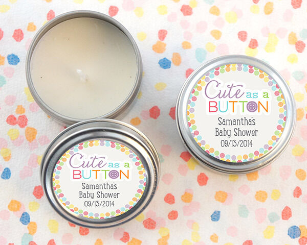 24 Personalized Cute As A Button Round Candle Tins Baby Shower Favors