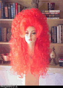 SIN CITY WIGS BIG DRAG QUEEN HAIR BRIGHT ORANGE RED CURLY WAVY LONG ... d4bd99ab29