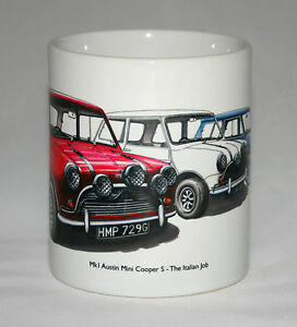 Classic Car Mug. Mk1 Austin Mini Cooper S - The Italian Job, with title