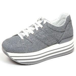 Details about F7082 sneaker donna tissue glitter silver HOGAN H283 MAXI 222 shoe woman