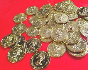 Lot-19-toy-plastic-coin-GOLD-Pirate-Doubloons-Treasure-Roman-pretend-money-token