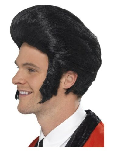 Mens 50/'s Quiff King Wig Black Danny T Birds 50s Grease Teddy Boy Wigs Rocker