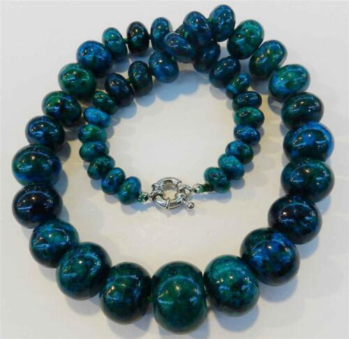 "CHARMANT!! 10-20 mm Azurite Gemme Phoenix Stone Cocarde Perles Collier 18.5/""AA"