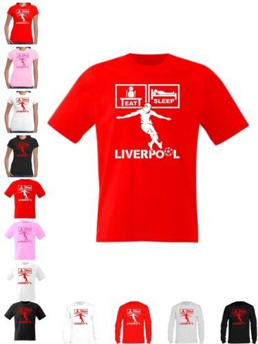 Liverpool Maglietta Eat Sleep Calcio Top Mens WOMANS Kids 23 Taglie