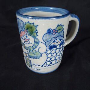 Louisville-Stoneware-Snowmen-Coffee-Mug-Snowballs-Holly