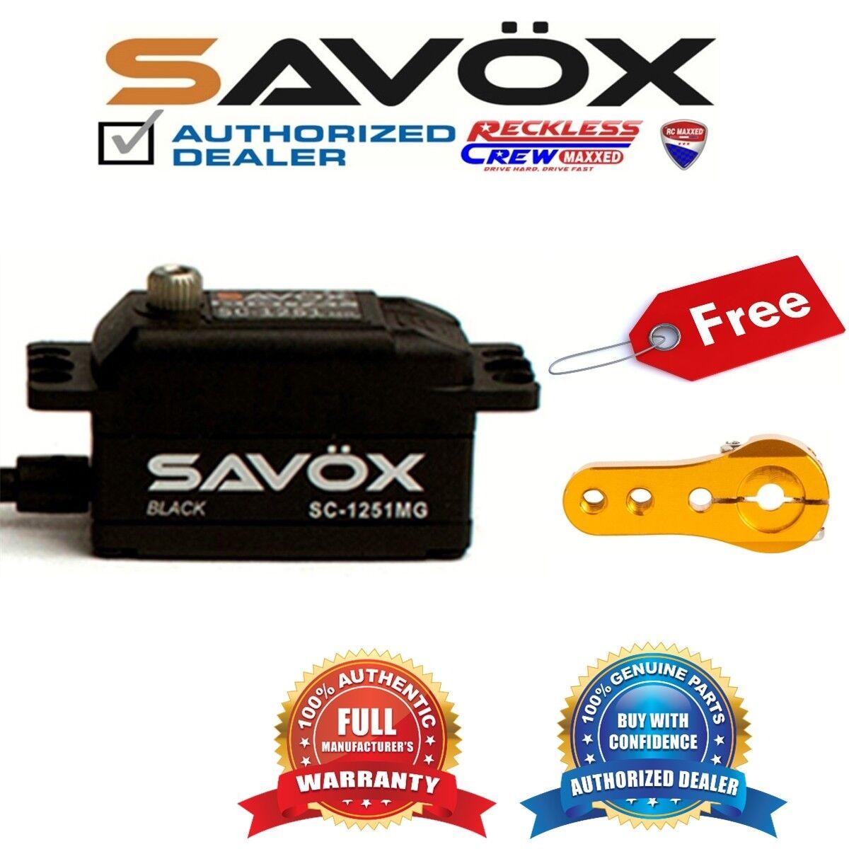Savox SC-1251MG-BE High Speed Low Profile Servo+ Free Aluminium servo horn oro