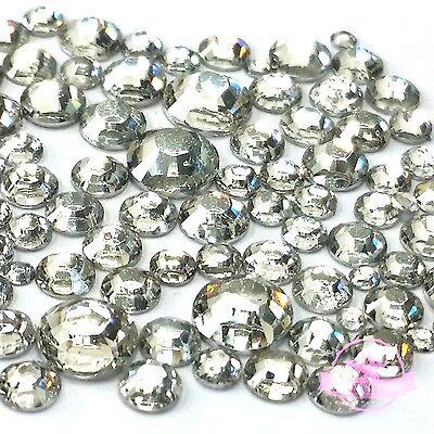 2400 pcs 2mm - 6mm Resin clear crystal round Rhinestones Flatback Mix SIZE