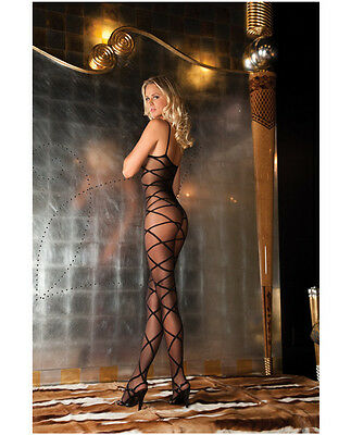 RENE ROFE STRAPPED UP SHEER BLACK BODYSTOCKING LINGERIE