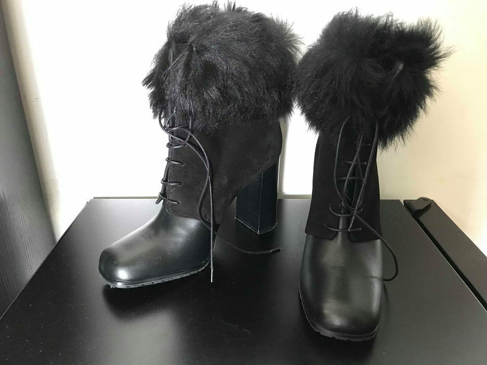 MAX MARA Sheep fur High heel booties Leder Lace up Stiefel IT39 /US9.5/AU8.5
