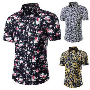 Mens-Summer-Floral-Print-Shirt-Short-Sleeve-Blouse-Hawaiian-Casual-Holiday-Shirt