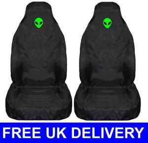 GREEN ALIEN CAR SEAT COVERS PROTECTORS UNIVERSAL FIT