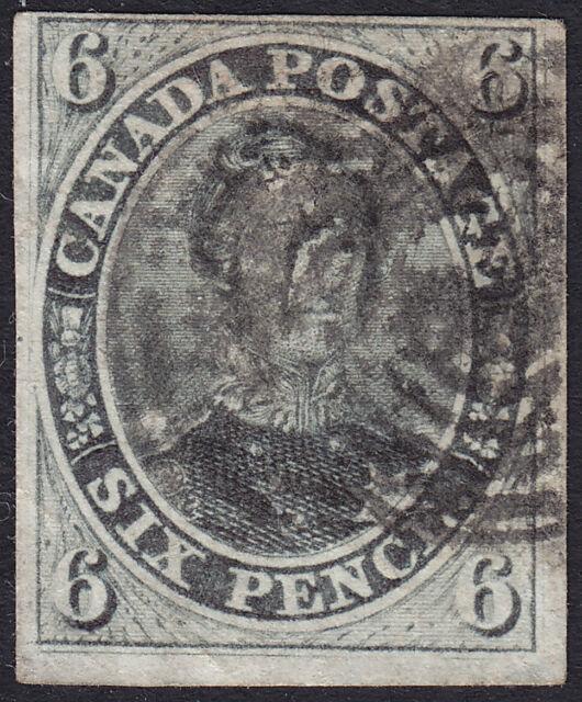 CANADA Stamp #5 Used 6 Pence 1855-58 (F-VF Centering) HRH Prince Albert
