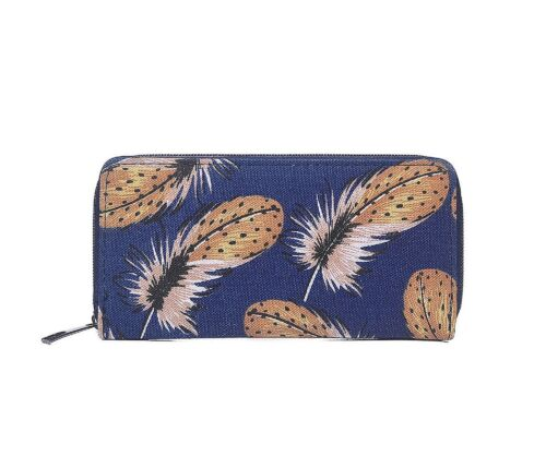 Ladies Wallet Small Holder Around Bag Purse Stock Feather Clutch red black Zip blue Fashion Large Feather blue Uk Card Gold BExwxdqU
