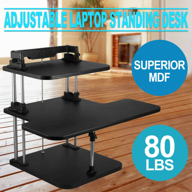 3 Tier Adjustable Computer Standing Desk Double Poles Sit/Stand Extra Strong