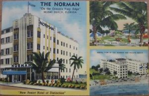 Image Is Loading 1950 Art Deco Linen The Norman Hotel Miami