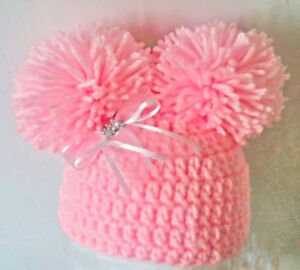 HAND-CROCHETED-PINK-POMPOM-HAT-BABY-GIRLS-beanie-knit-romany-bling-2-photo-prop