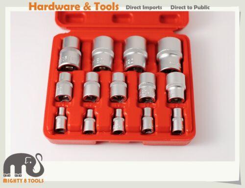 """Torx E-Star Female Socket Set w Storage Box Cr-V 14pc 1//4/"""" 3//8/"""" 1//2/"""" Dr E4-E24"""