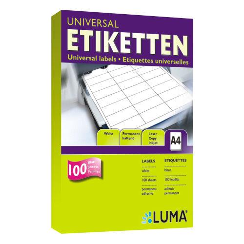 Weiße Vielzweck-Etiketten Luma Universal Etiketten A4 Format und Menge nach Wahl