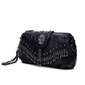 c4dd0e8e8e84 Image is loading Punk-Style-Women-Shoulder-Messenger-Bag-Sheepskin-Leather-