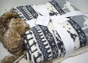 Pottery Barn Fair Isle Fur Pom Pom Throw Blanket 50x60