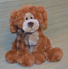 "GUND Big Booker Brown Plush Puppy Dog 14"" Seated 13089 RARE Plaid Bow"