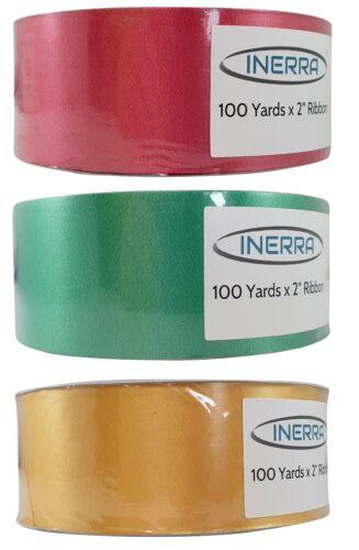 Emerald Green /& Gold Red 3 x Full Rolls 100 Yards x 50mm Florist Ribbon