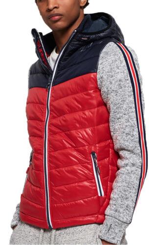Superdry Storm Hybrid Chevron Zip Up Hoodie Mens Hood Jacket Top Navy//Red