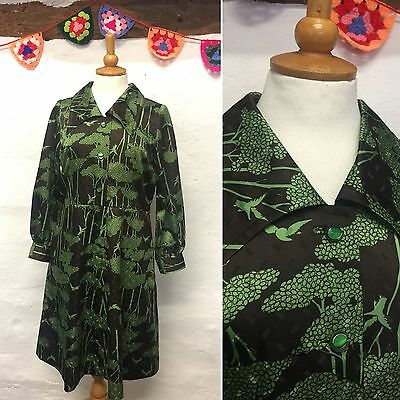 VINTAGE JAPANESE BROWN GREEN BIRD & TREE PRINT DRESS A-LINE 60s 70s MOD SIZE 14