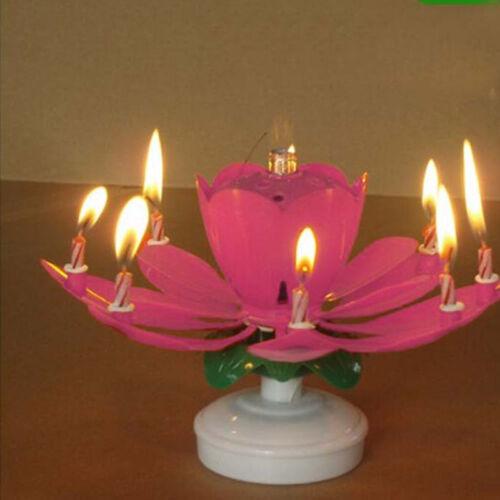 Musical Spinning Rotierende Lotus Flower Party Geburtstags Kerze Geschenk-1PC
