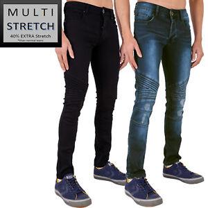 Para Hombre Super Multi Elastizados Ajustados Pantalones Vaqueros Rip Deshilachado Biker Negro Y Stonewash Por Anuncio Ebay