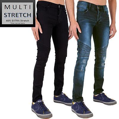 Mens Super Multi Stretch Skinny Jeans Rip Frayed Biker Black & Stonewash By Ad RegelmäßIges TeegeträNk Verbessert Ihre Gesundheit