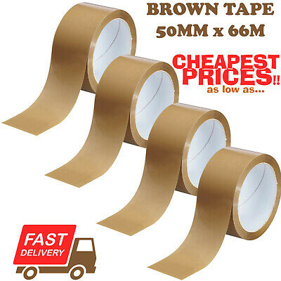 144 ROLLS OF BROWN PARCEL PACKING TAPE PACKAGING 48mm x 66m *NEXT DAY COURIER!