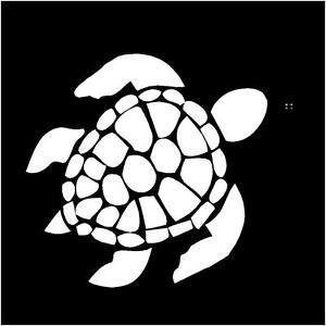 Sea Turtle Image Silhouette Sticker Decal 4 X 45in Color White