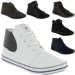 Image is loading MENS-DESIGNER-HI-TOPS-TRAINERS-NEW-BOYS-HIGH-